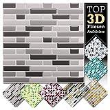 Grandora 1 Stück 28,6 x 25,3 cm Verschiedene Grautöne Fliesenaufkleber Design 5 I 3D Mosaik Fliesenfolie Küche Bad Wandaufkleber Fliesensticker Fliesendekor W5423