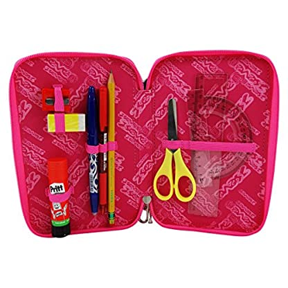Seven Bundle Girl Estuche Escolar Làpices de colores Plumier Triple para Ninos Violeta