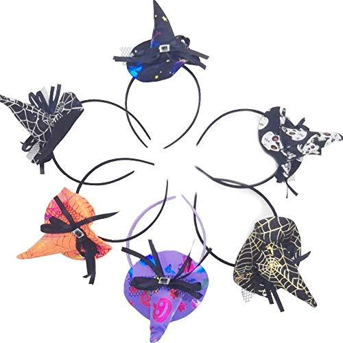 Von Hexe Kostüm Arten Verschiedene - Shuny 6 Stück Halloween Stirnband Hexenhut Haarreif Halloween Hexe Hut Form Haarbänder Party Cosplay Kostüm Deko