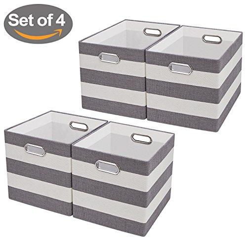 Aufbewahrungsboxen,Faltbare Aufbewahrungskörbe Aufbewahrungsbehälter Stoff Lagerung Bins für Wäsche, Büro, Schränke, Spielzeug,4er-Set (11''/4pcs, grau) (Stoff Gestreiften Grün)