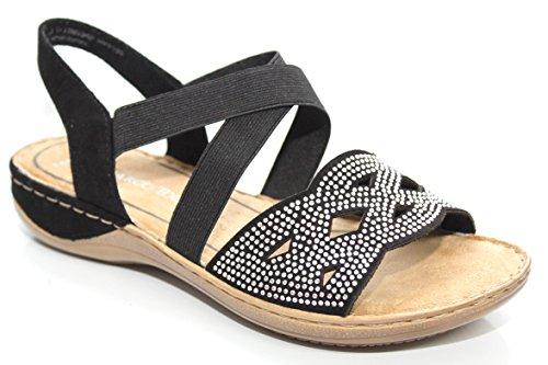 Marco Tozzi Damen Strappy Komfort Sommer Slingback Sandalen Größe UK 3–9, schwarz - schwarz - Größe: 36 EU