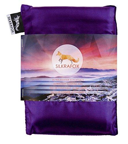 Silkrafox - ultraleichter Schlafsack, Hüttenschlafsack, Inlett, Sommerschlafsack, Kunst- Seidenschlafsack, lila
