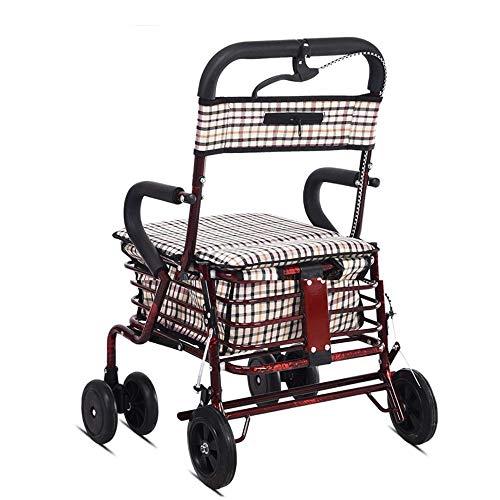 PILIBEIBEI Leichter faltender justierbarer Wanderer, medizinische faltende Mobilitäts-Rollator-Wanderer-Aluminiumlegierung mit faltbarem für die älteren Personen