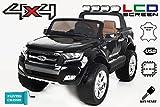 Ford Ranger Wildtrak 4X4 LCD Luxury, Elektro Kinderfahrzeug, LCD-Bildschirm, lackiert schwarz - 2.4Ghz, 2 x 12V, 4 X MOTOR, Fernbedienung, 2-Sitze in Leder, Soft EVA Räder, Bluetooth