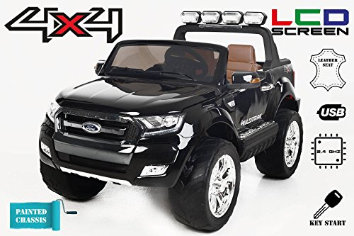 Ford Ranger Wildtrak 4X4 LCD Luxury Macchina Elettrica per Bambini, 2,4 GHz, 2 x 12V, Schermo LCD, Nero verniciato, 4 X MOTORE, il controllo remoto, i due sedili in pelle, cerchi in morbida EVA, Bluetooth