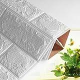 3D Brick Pattern Wandaufkleber, PE Schaum Selbstklebende Tapete Abnehmbare und wasserdichte Ziegel Tapete für Hintergrund TV Schlafzimmer Wohnzimmer Dekor Dekor 60 x 60CM (5 Stücke, Weiß)