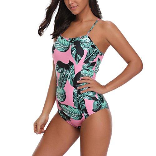 Angelof Bikini Bandage Tropical Femme Maillot de Bain Push Up Rembourre Maillot 1 Piece Ado Fille Amincissant Vert