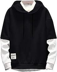 TUDUZ Men Men's Hoodies Long Sleeve Guard Simple Stitching Hooded Sweatshirt Loose Pullover Top Blouse Tracksuits M Black