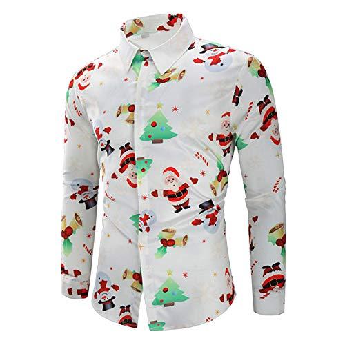 Fenverk Lange äRmel Weihnachten Geschenk Hemden Weihnachtsmann Drucken Schneemann Party Gedruckt Designs Herren Hemd Taste Runter Weihnachtsstil Baum üBergrößE Tops Sweatshirts(Weiß 1,2XL)