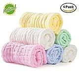 Hmlike - Asciugamani da bagno per bambini, extra morbidi, in mussola di cotone organico naturale, per pelli sensibili, 6 unità
