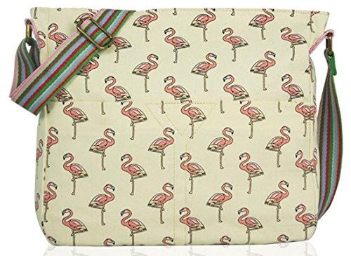 Kukubird Flamingo Tela Borsa A Tracolla Con Il Sacchetto Di Polvere Di Kukubird Beige
