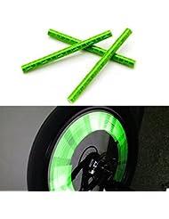 Kalaixing® Fahrradspeichen-Reflektoren, reflektierende Warnstreifen fürs Fahrrad, 12 Stück, grün