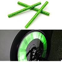 Kalaixing® da ciclismo Catarifrangenti per raggi Ruota-Clip di supporto per tubi, a striscia catarifrangente di, decalcomanie a raggi bicicletta Caution 12-Adesivi rifrangenti, a righe, colore: verde