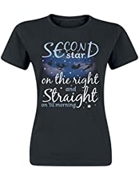 Peter Pan Second Star To The Right Camiseta Mujer Negro