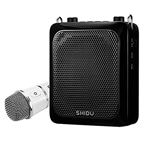 Voice Amplifier, SHIDU sd-s516 (UHF) 30 W Voice amlifier with 4000 mAh Rechargeable Lithium Battery, UHF Hand-Held Wireless Microphone, for Teacher/Coaches/Tour Guides/Yoga Instructor and more noir noir