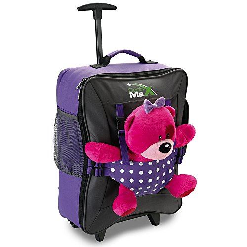 cabin-max-bear-childrens-luggage-carry-on-trolley-suitcase-purple-spotty-