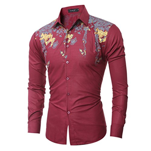 Men's Cotton Decent Printed Slim Fit Long Sleeve Shirts Wine Red