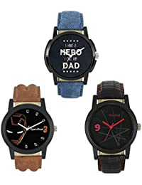 [Sponsored]OpenDeal Combo Pack 3 Stylish Dummy Chronograph Analog Watch For Men Boys