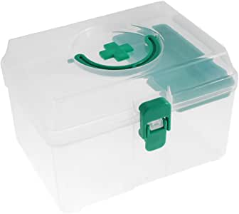 uxcell Plastic Medicine Pill Storage First Aid Case Box Container Green Clear