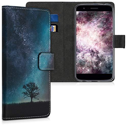 kwmobile LG K11 / K11+ / K10 (2018) Hülle - Kunstleder Wallet Case für LG K11 / K11+ / K10 (2018) mit Kartenfächern & Stand - Galaxie Baum Wiese Design Blau Grau Schwarz