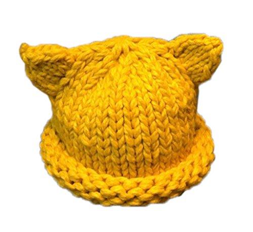 Bigood Bonnet Bébé Fille Garçon Chapeau Tricot Beanie Hat Déguisement Oreille Chat Mignon Jaune