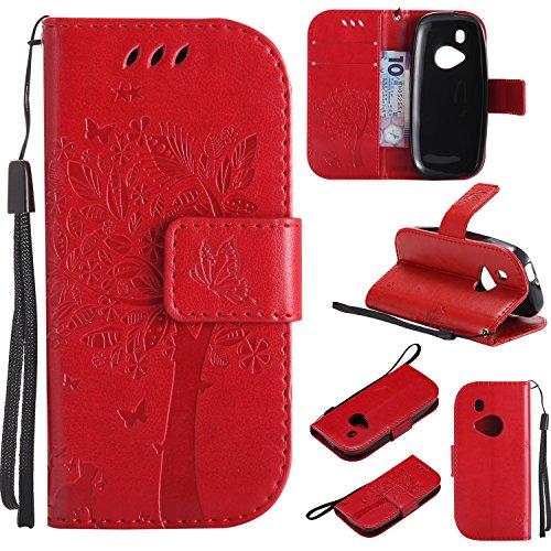 kelman Custodia per Nokia 3310/2017 Cover Custodia Case PU Pelle + Silicone TPU Entro Conchiglia Moda Goffratura Flip Portafoglio Custodia - [KT10 - Rosso]