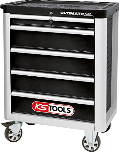 Schwarze Fünf Schubladen (KS Tools 888.0005 ULTIMATEline Werkstattwagen,mit 5 Schubladen,schwarz/silber)