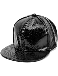 LOCOMO Men Women PU Synthetic Leather Baseball Cap Snapback FFH376BLK