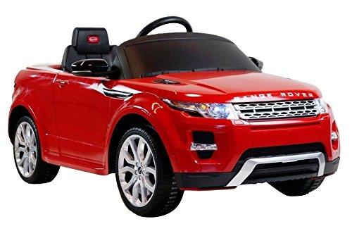 Land Rover - Coche Range Rover Evoque eléctrico 12v para niños a Partir de 3 años con Sonidos y MP3, Color Rojo (Herrajes Multimec 4007)