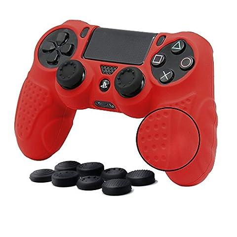CHINFAI PS4 Controller Skin Housse avec 8 poignées, antidérapante Housse de protection en silicone pour Grip Protector pour Sony PS4 / SLIM / PRO Controller (Rouge)