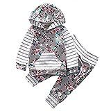 Kobay Neugeborenes Baby Mädchen Floral Gestreiften Hoodie Tops + Hosen Outfits Kleidung Set