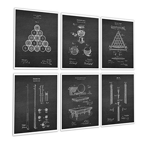 Gnosis Picture Archive Billard Pool Room Decor Set von 6Art Prints von Billard Pool Tisch Billard Kugeln Billard Queue Erfindung Diagramme Patente Billard chk6a -