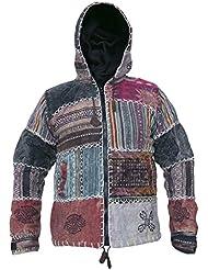 Little Kathmandu GHERI - chaqueta sudadera con capucha para hombres, de sol y luna, de algodón lavado a la piedra, de retales, con forro polar, estilo Hippie Boho Funky