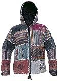 Little Kathmandu GHERI - chaqueta sudadera con capucha para hombres, de sol y luna, de algodón lavado a la piedra, de retales, con forro polar, estilo Hippie Boho Funky, Manga Larga, Hombre, color multicolor, tamaño X-Large
