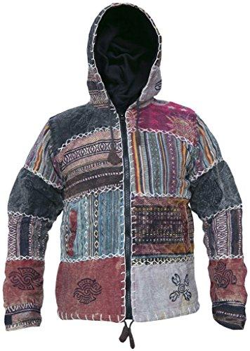 LITTLE KATHMANDU pour Homme Soleil Lune délavé Coton Doublure Polaire Patch Hippie pour Femme - - X-Large