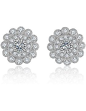 Eynoca Damen 925 Sterling Silber Ohrstecker Ohrringe Push Back Design Blumen Design mit glänzenden wunderschönen...