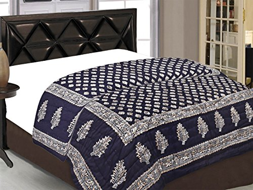 Bedding King traditional Jaipuri Print 100% Pure Cotton Double Bed Quilt/Razai Size...