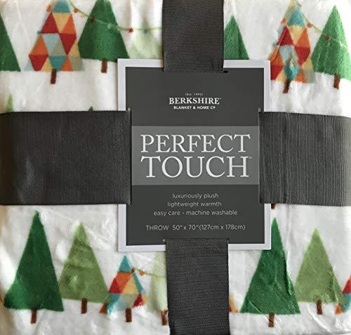 Berkshire Decke Perfect Touch Velvetloft Plüsch Überwurf 50 x 70 inches Happy Holiday Trees (Touch Decke Perfect)