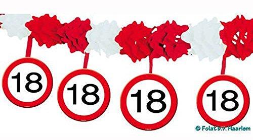1 Girlande mit Dekoration * 18. GEBURTSTAG * mit Verkehrsschild-Design // Set Banner with Dangling Cutouts Decoration Deko Wimpelkette Jubiläum Achtzehn Jahre