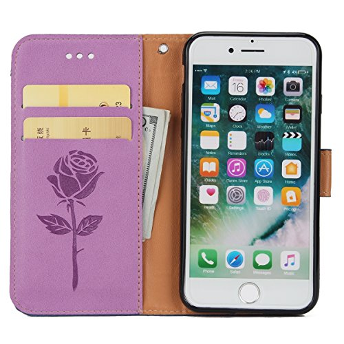 Custodia Cover iPhone 7 Pell Portafoglio, JAWSEU Lusso Design Creativo iPhone 7 Custodia Cover [Shock-Absorption] Protectiva Bumper Custodia per iPhone 7 Leather Flip Cover con Morbido Silicone Case e Rose, Viola