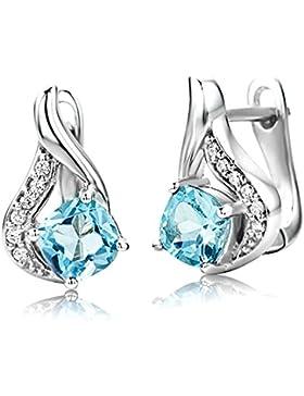 ByJoy Damen-Ohrstecker 925 Sterling- Silber Halbmondschliff Blau Topas