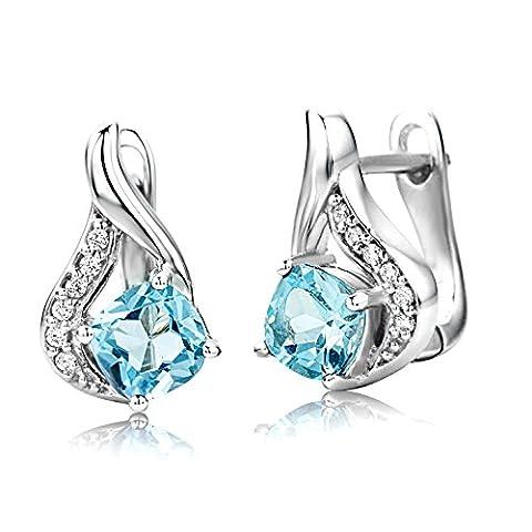 ByJoy 925 Sky Blue Topaz Sterling Silver Stud Earrings