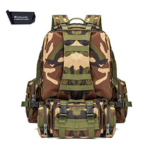55L Wandern Rucksack Multifunktions leichtes wasserdicht kombinieren Rucksack Outdoor Sports Camping Bergsteigen Adventure Travel Nylon Rucksack WOODLAND CAMOUFLAGE