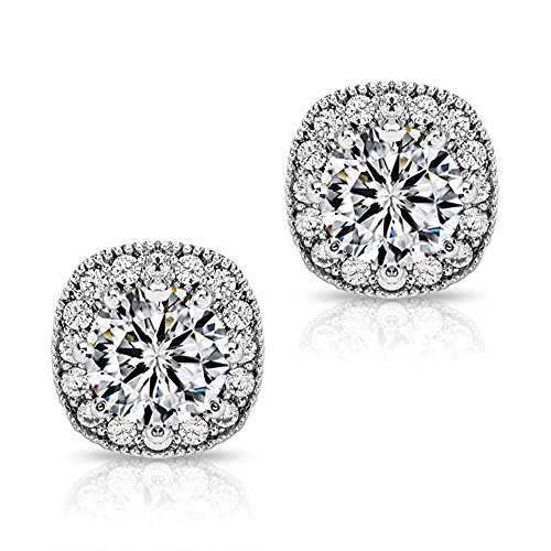 Halo CZ Stud Earrings - Fleur Rouge 18K Gold Plated Round Cubic Zirconia Stud Earrings With Silver Post