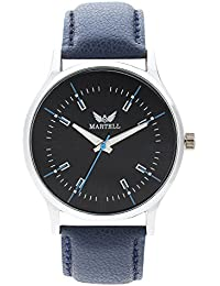 Martell - Doran Series Round Black Dial Leather Strap Analog Watch For Men/Boys