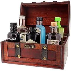 Famous Gin Geschenk-Collection - 6 Gin-Flaschen in einer schönen Piraten-Schatzkiste als tolles Weihnachtsgeschenk