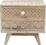 Kare Design Kommode Puro Klein, Nachttisch mit aufwendigen Schnitzereien, Nachtschrank aus Holz, Hellbraun (H/B/T) 46x50x35cm