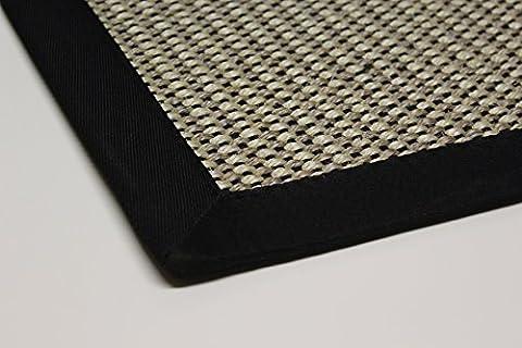Sisal-Teppich modern hochwertige Bordüre Flachgewebe schwarz beige natur, verschiedene Größen, Variante: 80 x 150 cm