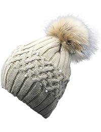Femmes Tricoter Casquette, Reaso Hiver Purl Crochet Hat fourrure laine Cap chaud Beanie Raccoon