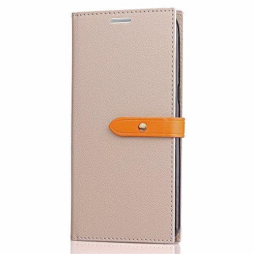 EKINHUI Case Cover Slim Premium PU Leder Brieftasche Case Horizontale Flip Stand Schutzhülle mit Card Slots und Niet Gürtelschnalle Closure für Samsung Galaxy Note 5 ( Color : Black ) Gray